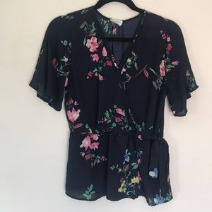 Navy blue floral flowy blouse - side tie